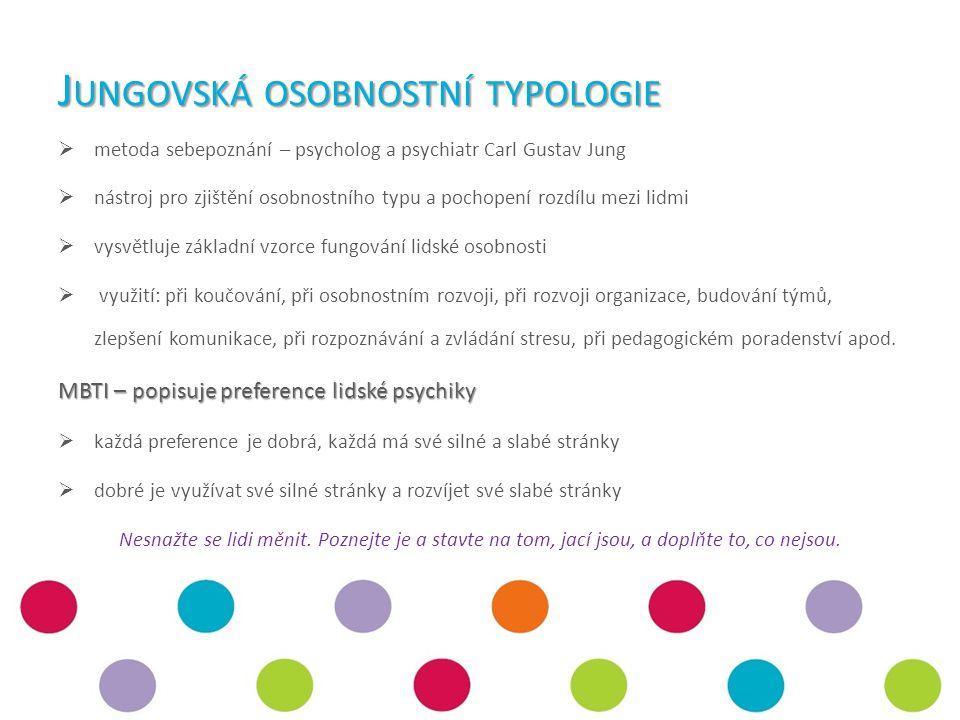 J UNGOVSKÁ OSOBNOSTNÍ TYPOLOGIE  metoda sebepoznání – psycholog a psychiatr Carl Gustav Jung  nástroj pro zjištění osobnostního typu a pochopení rozdílu mezi lidmi  vysvětluje základní vzorce fungování lidské osobnosti  využití: při koučování, při osobnostním rozvoji, při rozvoji organizace, budování týmů, zlepšení komunikace, při rozpoznávání a zvládání stresu, při pedagogickém poradenství apod.