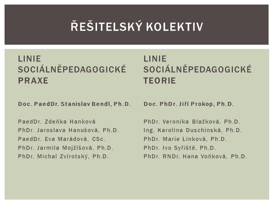 LINIE SOCIÁLNĚPEDAGOGICKÉ PRAXE Doc. PaedDr. Stanislav Bendl, Ph.D. PaedDr. Zdeňka Hanková PhDr. Jaroslava Hanušová, Ph.D. PaedDr. Eva Marádová, CSc.
