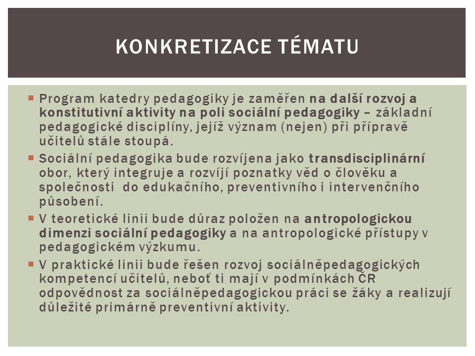  Program katedry pedagogiky je zaměřen na další rozvoj a konstitutivní aktivity na poli sociální pedagogiky – základní pedagogické disciplíny, jejíž