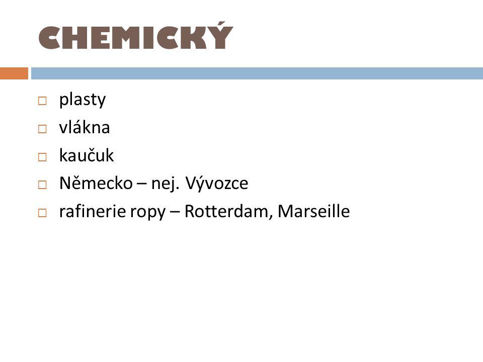 CHEMICKÝ  plasty  vlákna  kaučuk  Německo – nej. Vývozce  rafinerie ropy – Rotterdam, Marseille