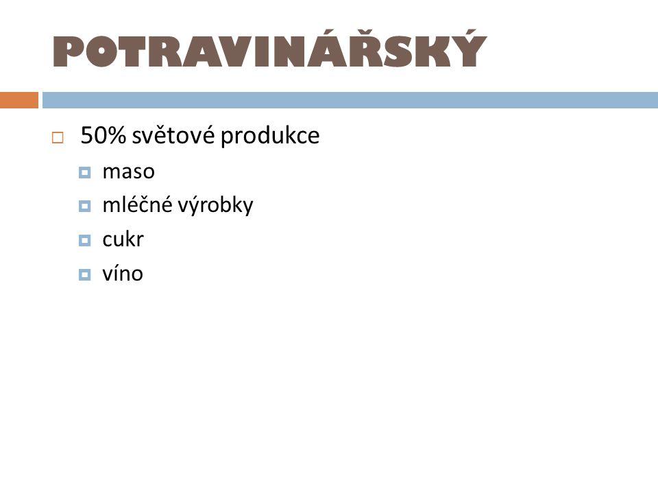 POTRAVINÁŘSKÝ  50% světové produkce  maso  mléčné výrobky  cukr  víno