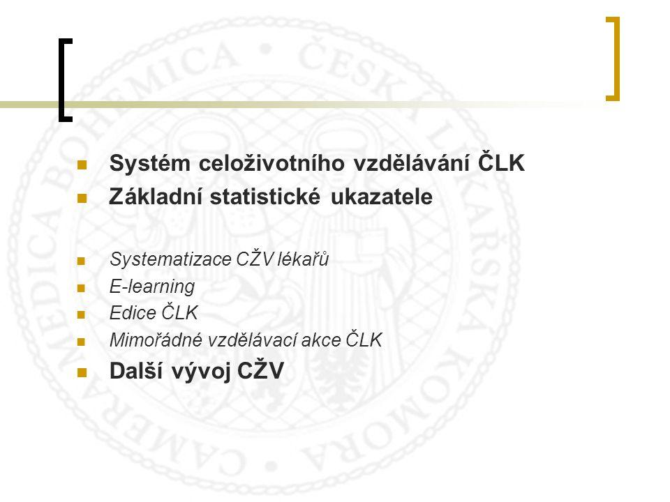Systém celoživotního vzdělávání ČLK Základní statistické ukazatele Systematizace CŽV lékařů E-learning Edice ČLK Mimořádné vzdělávací akce ČLK Další v