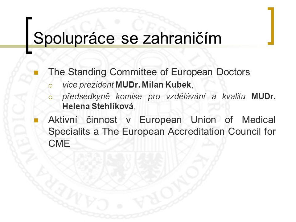 Spolupráce se zahraničím The Standing Committee of European Doctors  vice prezident MUDr. Milan Kubek,  předsedkyně komise pro vzdělávání a kvalitu