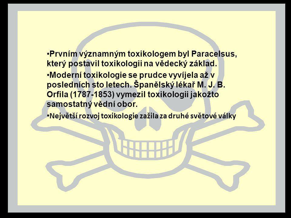 Prvním významným toxikologem byl Paracelsus, který postavil toxikologii na vědecký základ. Moderní toxikologie se prudce vyvíjela až v posledních sto