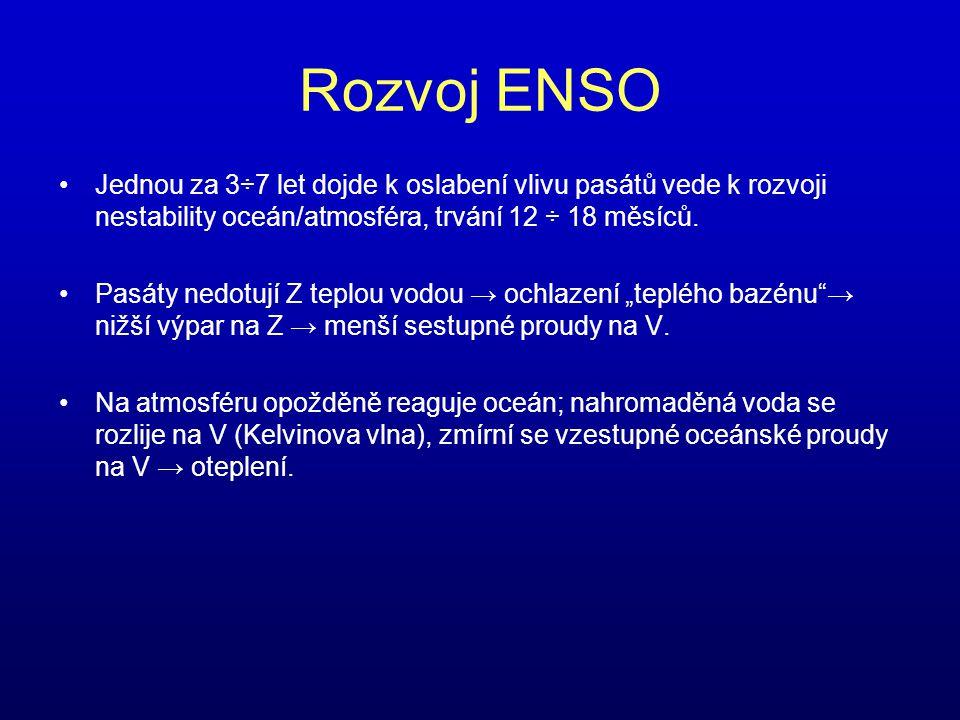 Rozvoj ENSO Jednou za 3÷7 let dojde k oslabení vlivu pasátů vede k rozvoji nestability oceán/atmosféra, trvání 12 ÷ 18 měsíců.
