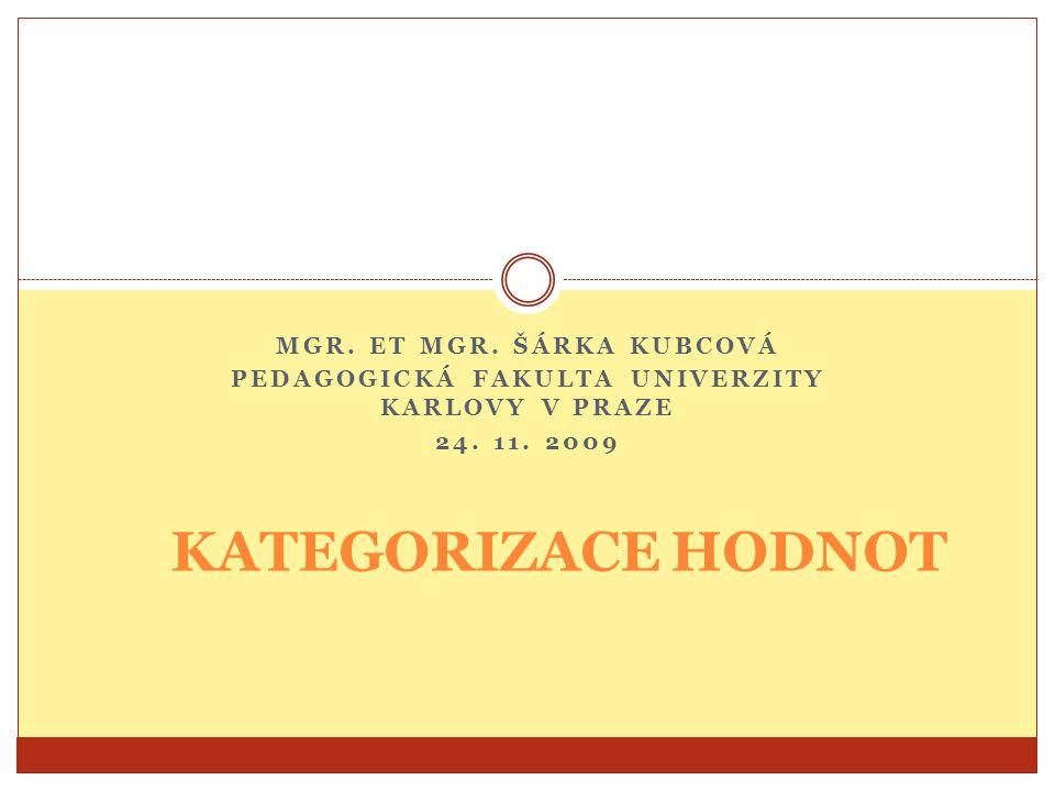 MGR. ET MGR. ŠÁRKA KUBCOVÁ PEDAGOGICKÁ FAKULTA UNIVERZITY KARLOVY V PRAZE 24. 11. 2009 KATEGORIZACE HODNOT