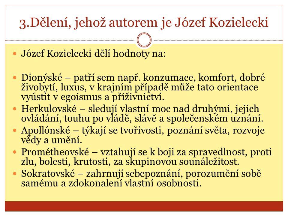 3.Dělení, jehož autorem je Józef Kozielecki Józef Kozielecki dělí hodnoty na: Dionýské – patří sem např. konzumace, komfort, dobré živobytí, luxus, v