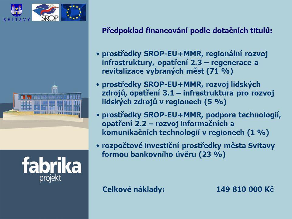 Předpoklad financování podle dotačních titulů: prostředky SROP-EU+MMR, regionální rozvoj infrastruktury, opatření 2.3 – regenerace a revitalizace vybraných měst (71 %) prostředky SROP-EU+MMR, rozvoj lidských zdrojů, opatření 3.1 – infrastruktura pro rozvoj lidských zdrojů v regionech (5 %) prostředky SROP-EU+MMR, podpora technologií, opatření 2.2 – rozvoj informačních a komunikačních technologií v regionech (1 %) rozpočtové investiční prostředky města Svitavy formou bankovního úvěru (23 %) Celkové náklady: 149 810 000 Kč