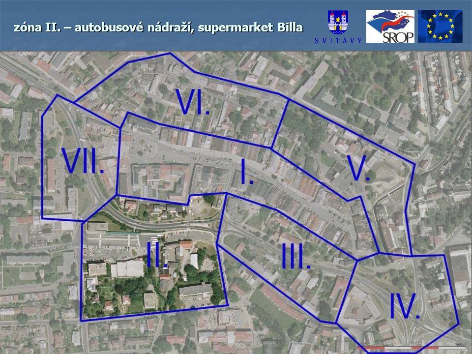 zóna II. – autobusové nádraží, supermarket Billa