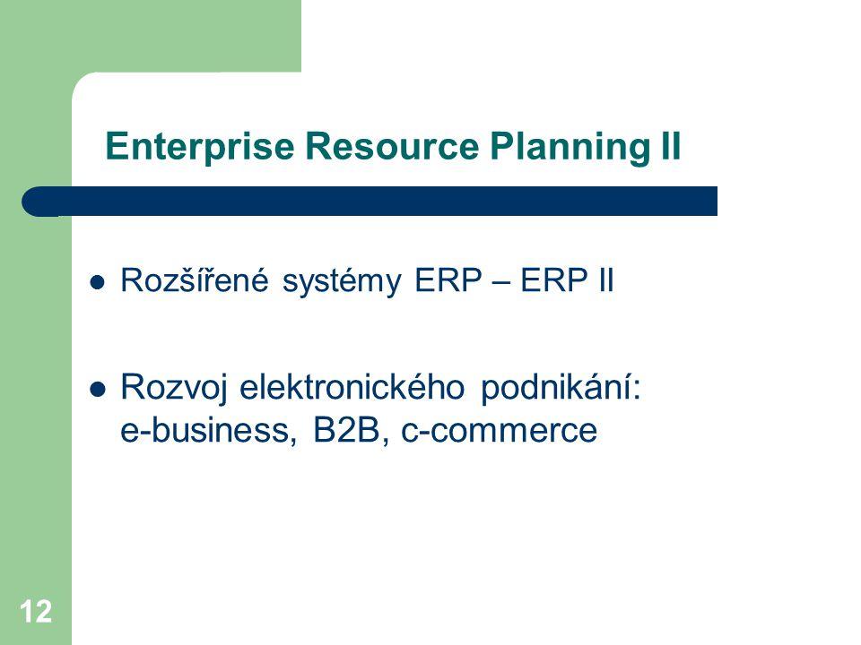 12 Enterprise Resource Planning II Rozšířené systémy ERP – ERP II Rozvoj elektronického podnikání: e-business, B2B, c-commerce