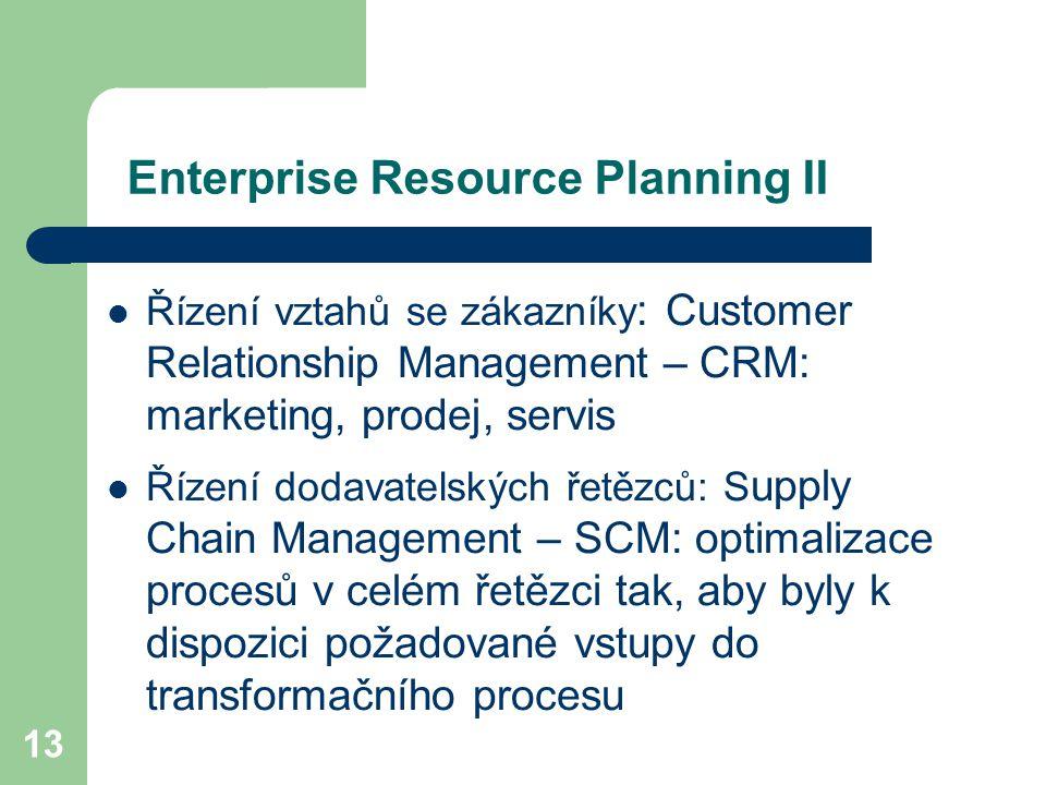 13 Enterprise Resource Planning II Řízení vztahů se zákazníky : Customer Relationship Management – CRM: marketing, prodej, servis Řízení dodavatelských řetězců: S upply Chain Management – SCM: optimalizace procesů v celém řetězci tak, aby byly k dispozici požadované vstupy do transformačního procesu