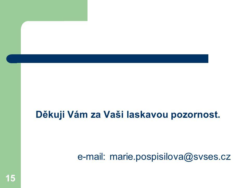 15 Děkuji Vám za Vaši laskavou pozornost. e-mail: marie.pospisilova@svses.cz