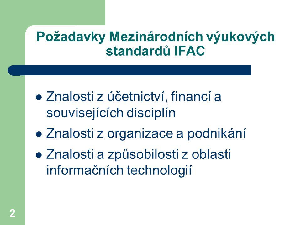 2 Požadavky Mezinárodních výukových standardů IFAC Znalosti z účetnictví, financí a souvisejících disciplín Znalosti z organizace a podnikání Znalosti a způsobilosti z oblasti informačních technologií