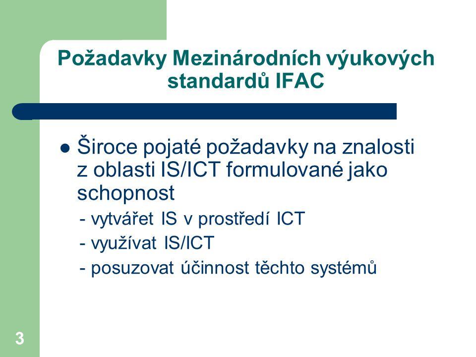 3 Požadavky Mezinárodních výukových standardů IFAC Široce pojaté požadavky na znalosti z oblasti IS/ICT formulované jako schopnost - vytvářet IS v prostředí ICT - využívat IS/ICT - posuzovat účinnost těchto systémů
