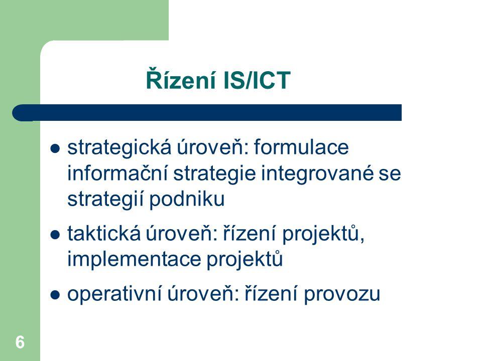 6 Řízení IS/ICT strategická úroveň: formulace informační strategie integrované se strategií podniku taktická úroveň: řízení projektů, implementace projektů operativní úroveň: řízení provozu