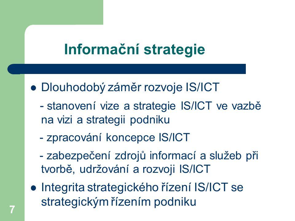 7 Informační strategie Dlouhodobý záměr rozvoje IS/ICT - stanovení vize a strategie IS/ICT ve vazbě na vizi a strategii podniku - zpracování koncepce IS/ICT - zabezpečení zdrojů informací a služeb při tvorbě, udržování a rozvoji IS/ICT Integrita strategického řízení IS/ICT se strategickým řízením podniku