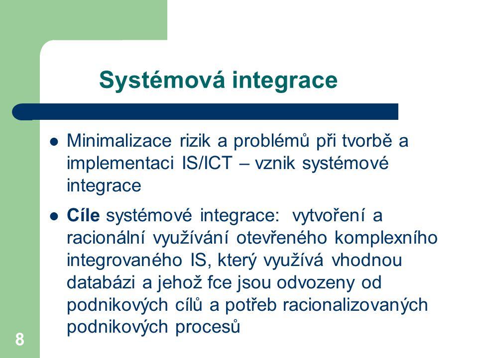 8 Systémová integrace Minimalizace rizik a problémů při tvorbě a implementaci IS/ICT – vznik systémové integrace Cíle systémové integrace: vytvoření a racionální využívání otevřeného komplexního integrovaného IS, který využívá vhodnou databázi a jehož fce jsou odvozeny od podnikových cílů a potřeb racionalizovaných podnikových procesů