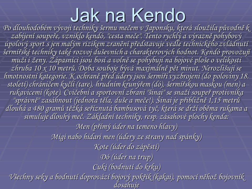 Jak na Kendo Po dlouhodobém vývoji techniky šermu mečem v Japonsku, která sloužila původně k zabíjení soupeře, vzniklo kendó,