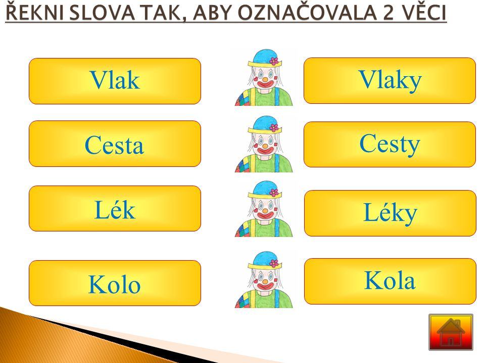 ŘEKNI SLOVA TAK, ABY OZNAČOVALA 2 VĚCI Vlak Cesta Lék Kolo Vlaky Cesty Léky Kola