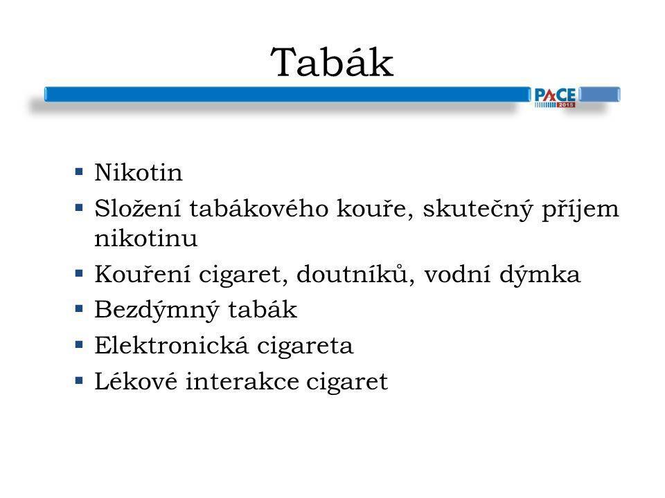 Tabák  Nikotin  Složení tabákového kouře, skutečný příjem nikotinu  Kouření cigaret, doutníků, vodní dýmka  Bezdýmný tabák  Elektronická cigareta