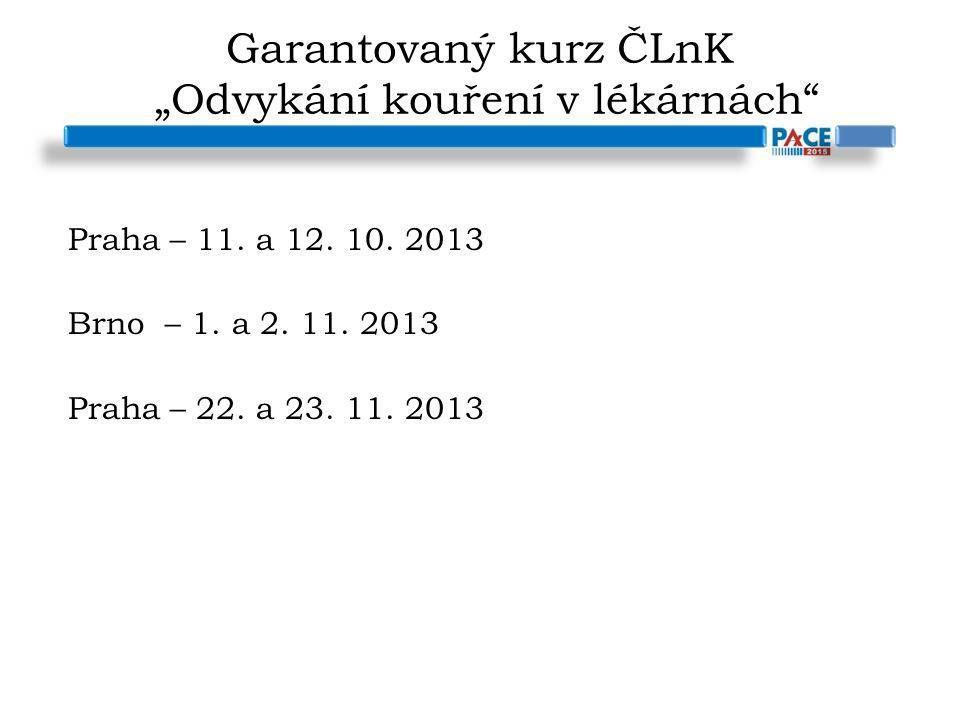 """Garantovaný kurz ČLnK """"Odvykání kouření v lékárnách"""" Praha – 11. a 12. 10. 2013 Brno – 1. a 2. 11. 2013 Praha – 22. a 23. 11. 2013"""