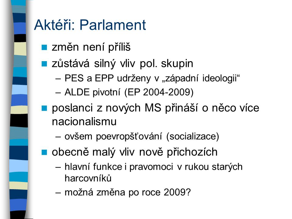 Aktéři: Parlament změn není příliš zůstává silný vliv pol.
