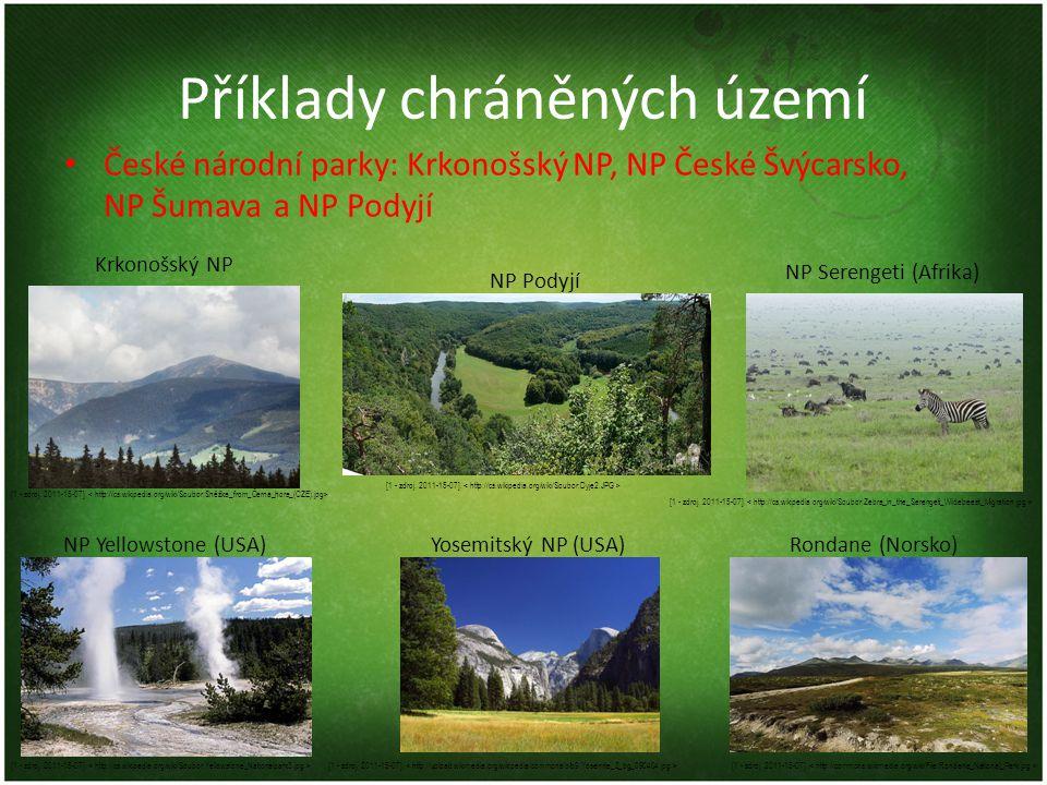 Příklady chráněných území České národní parky: Krkonošský NP, NP České Švýcarsko, NP Šumavaa NP Podyjí [1 - zdroj. 2011-15-07]. Rondane (Norsko)Yosemi