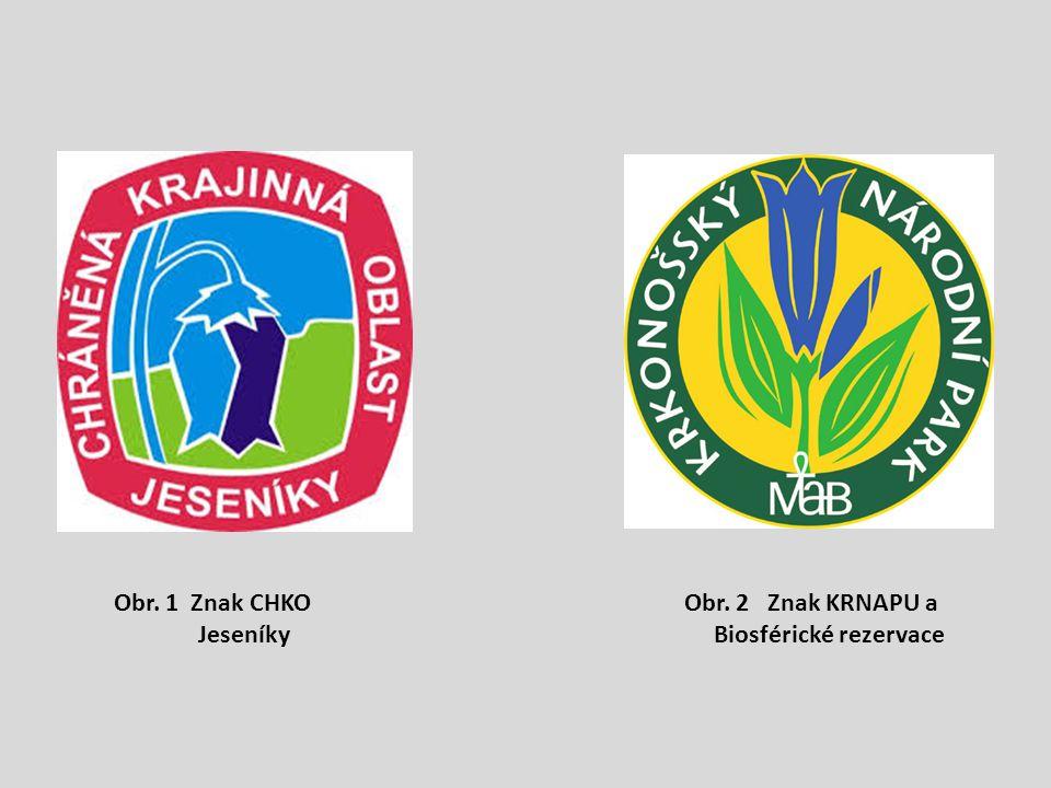 Obr. 1 Znak CHKO Jeseníky Obr. 2 Znak KRNAPU a Biosférické rezervace