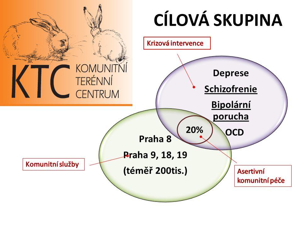 CÍLOVÁ SKUPINA Praha 8 Praha 9, 18, 19 (téměř 200tis.) Deprese Schizofrenie Bipolární porucha OCD 20%