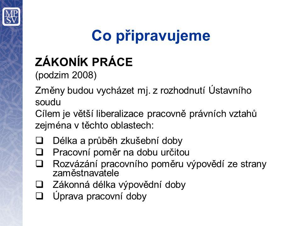 Co připravujeme ZÁKONÍK PRÁCE (podzim 2008) Změny budou vycházet mj.