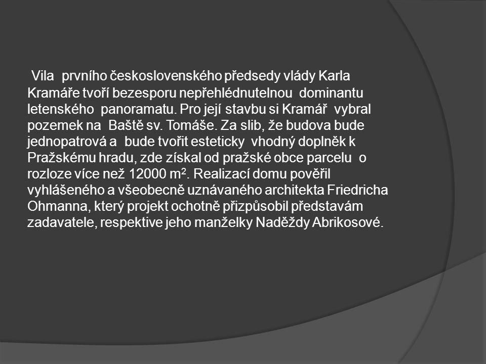 Vila prvního československého předsedy vlády Karla Kramáře tvoří bezesporu nepřehlédnutelnou dominantu letenského panoramatu.