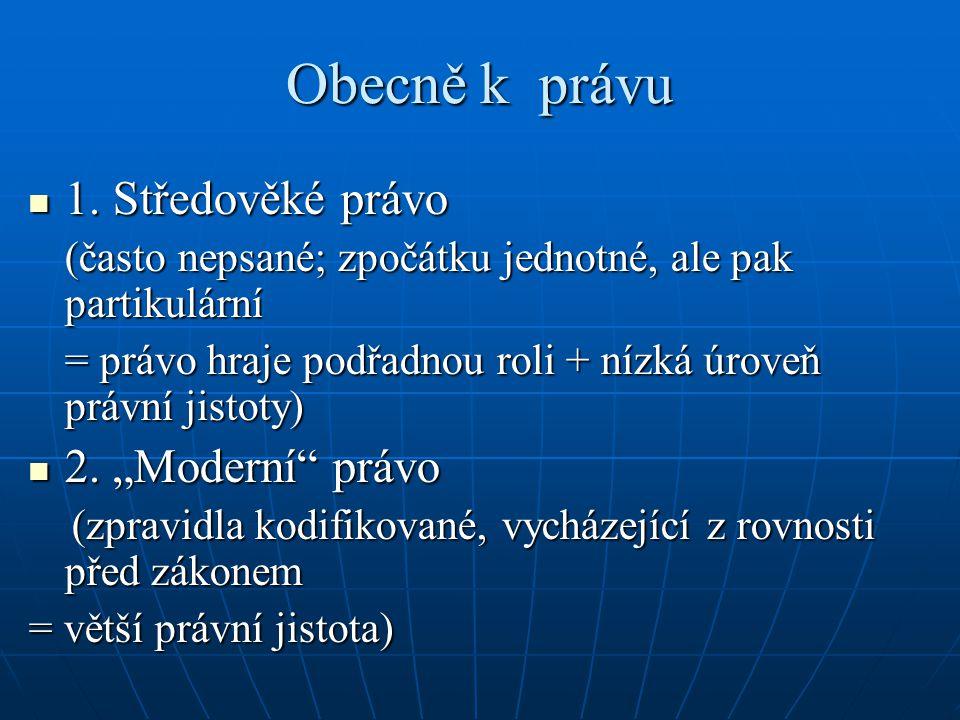 Oblasti středověkého práva 1.šlechtické (zemské) právo 1.
