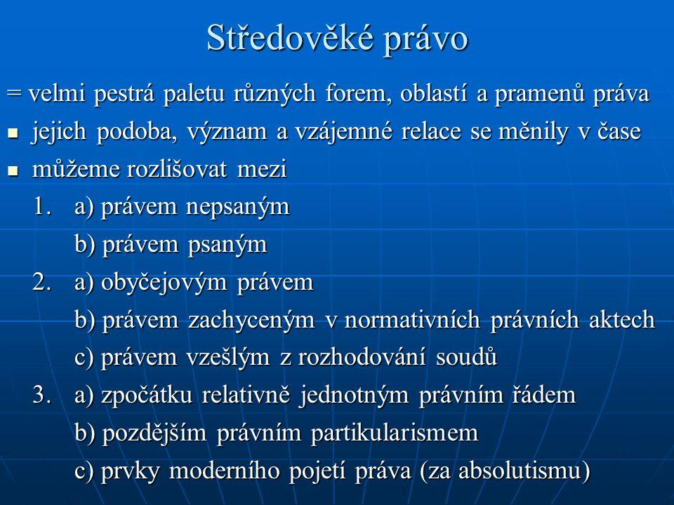Periodizace (9.století – 1918) Převaha nepsaného obyčejového práva (do začátku 16.