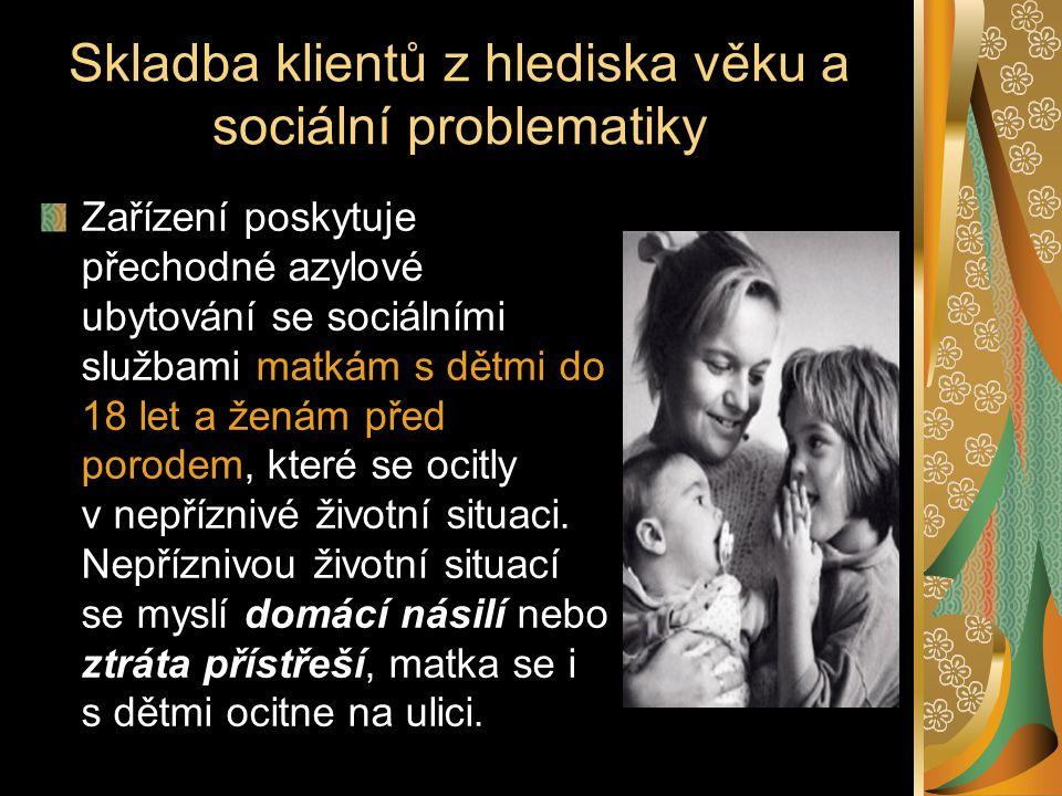 Skladba klientů z hlediska věku a sociální problematiky Zařízení poskytuje přechodné azylové ubytování se sociálními službami matkám s dětmi do 18 let