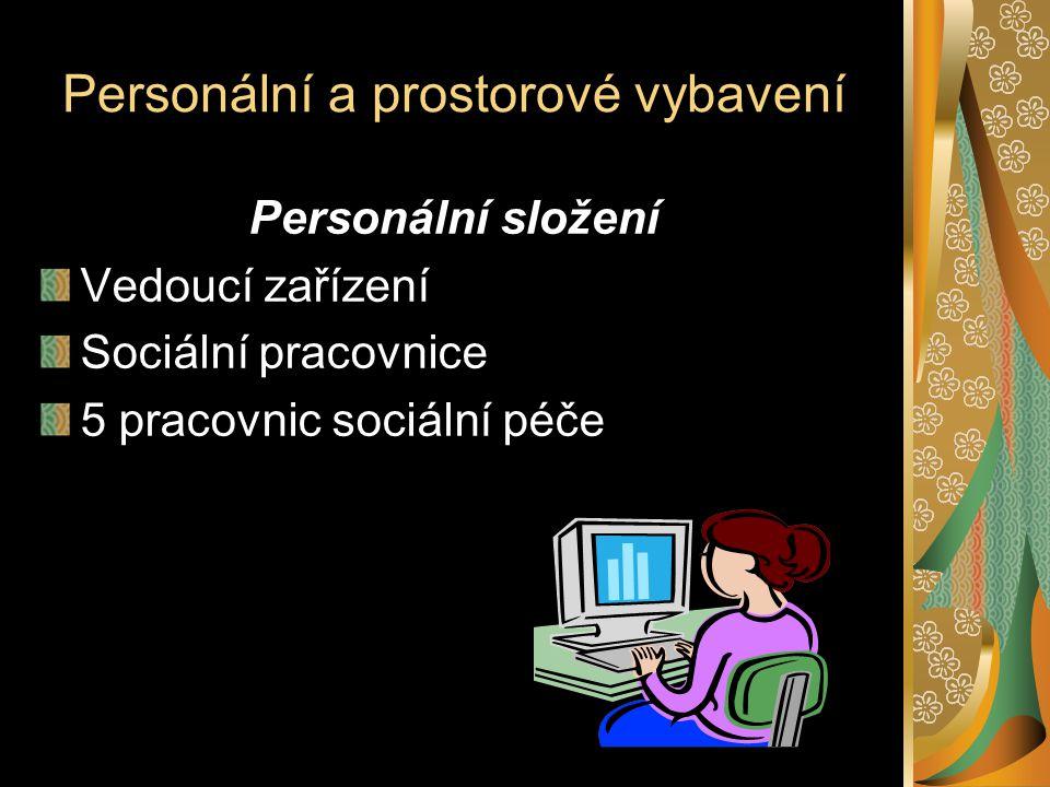Personální a prostorové vybavení Personální složení Vedoucí zařízení Sociální pracovnice 5 pracovnic sociální péče