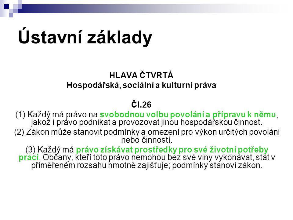 Ústavní základy HLAVA ČTVRTÁ Hospodářská, sociální a kulturní práva Čl.26 (1) Každý má právo na svobodnou volbu povolání a přípravu k němu, jakož i pr
