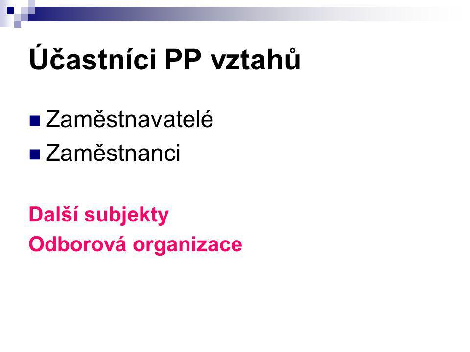 Účastníci PP vztahů Zaměstnavatelé Zaměstnanci Další subjekty Odborová organizace