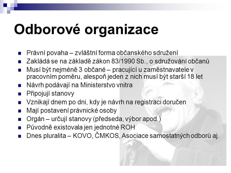 Odborové organizace Právní povaha – zvláštní forma občanského sdružení Zakládá se na základě zákon 83/1990 Sb., o sdružování občanů Musí být nejméně 3