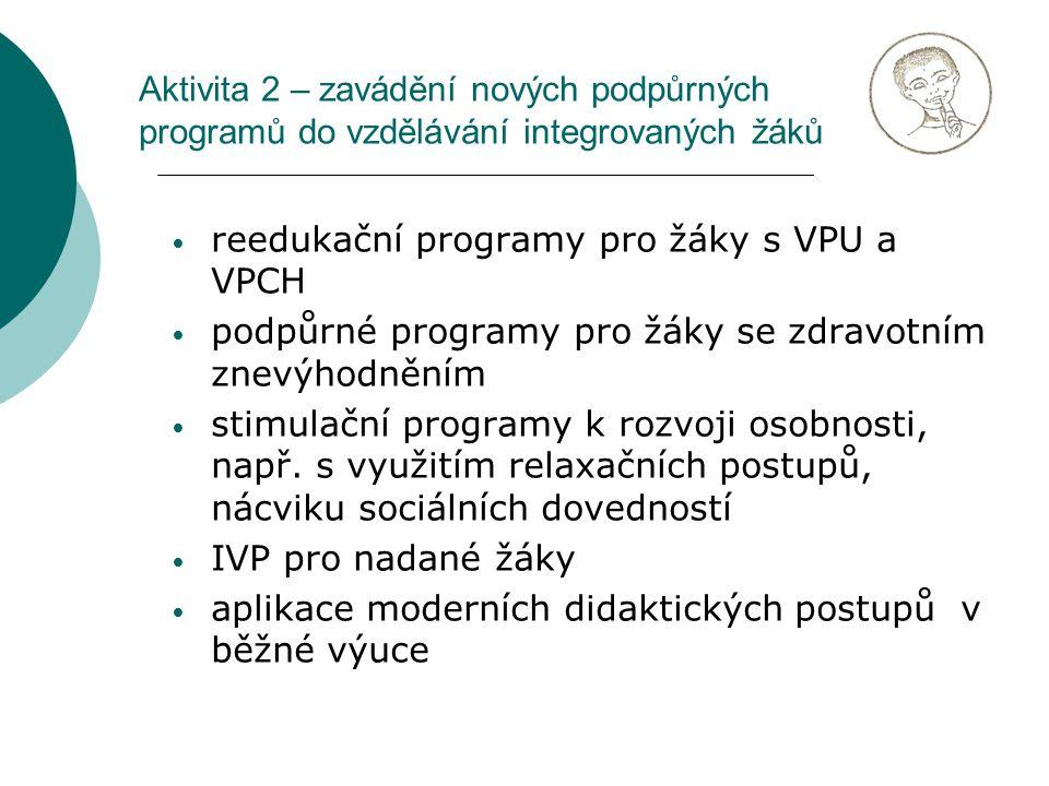 reedukační programy pro žáky s VPU a VPCH podpůrné programy pro žáky se zdravotním znevýhodněním stimulační programy k rozvoji osobnosti, např.
