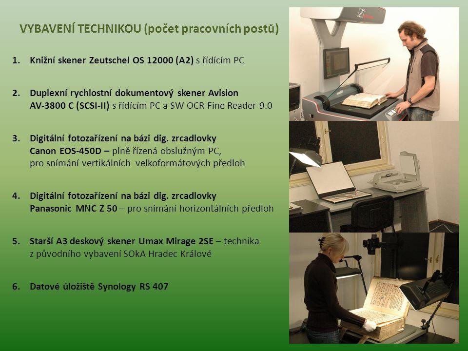 VYBAVENÍ TECHNIKOU (počet pracovních postů) 1.Knižní skener Zeutschel OS 12000 (A2) s řídícím PC 2.Duplexní rychlostní dokumentový skener Avision AV-3