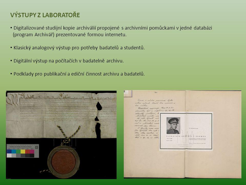 VÝSTUPY Z LABORATOŘE Digitalizované studijní kopie archiválií propojené s archivními pomůckami v jedné databázi (program Archivář) prezentované formou
