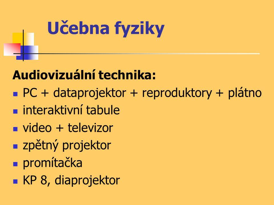 Učebna fyziky Audiovizuální technika: PC + dataprojektor + reproduktory + plátno interaktivní tabule video + televizor zpětný projektor promítačka KP