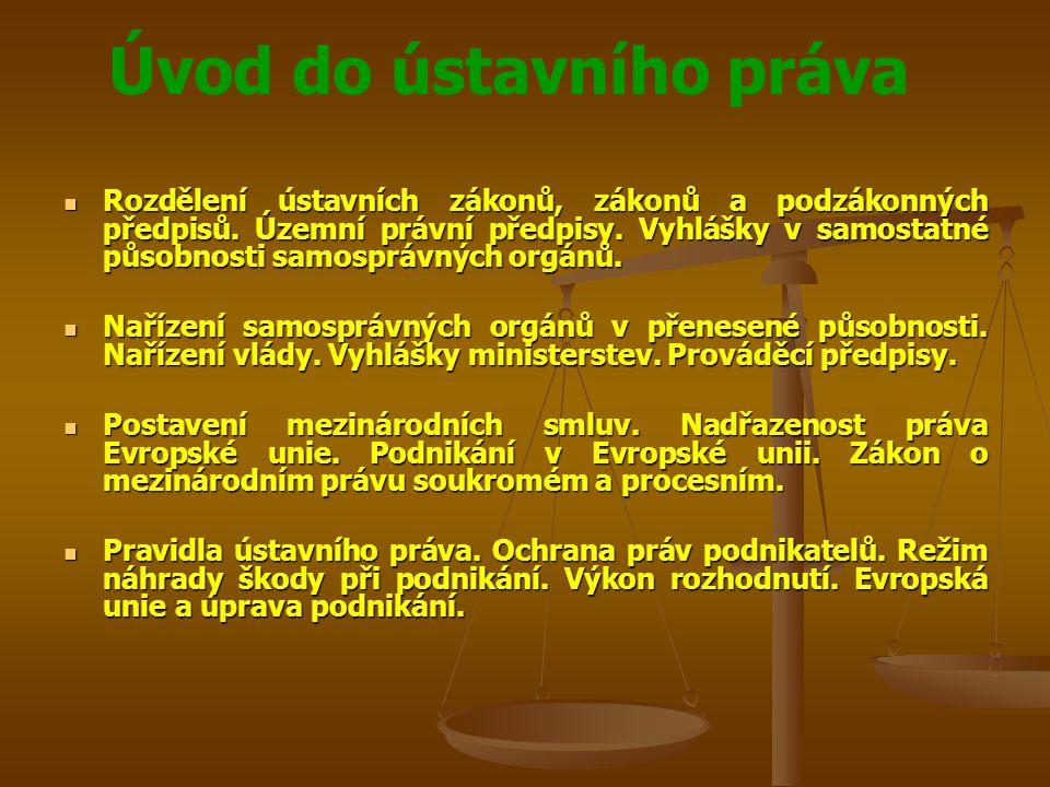 Úvod do ústavního práva Rozdělení ústavních zákonů, zákonů a podzákonných předpisů. Územní právní předpisy. Vyhlášky v samostatné působnosti samospráv
