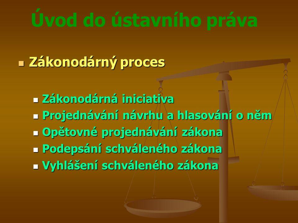 Úvod do ústavního práva Zákonodárný proces Zákonodárný proces Zákonodárná iniciativa Zákonodárná iniciativa Projednávání návrhu a hlasování o něm Proj