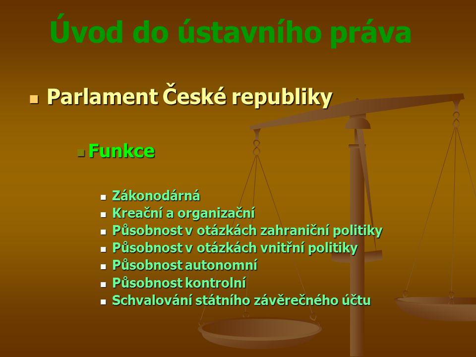 Úvod do ústavního práva Parlament České republiky Parlament České republiky Funkce Funkce Zákonodárná Zákonodárná Kreační a organizační Kreační a orga