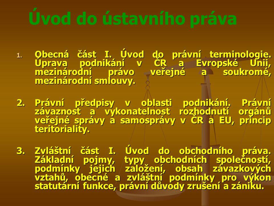 Úvod do ústavního práva 1. Obecná část I. Úvod do právní terminologie. Úprava podnikání v ČR a Evropské Unii, mezinárodní právo veřejné a soukromé, me