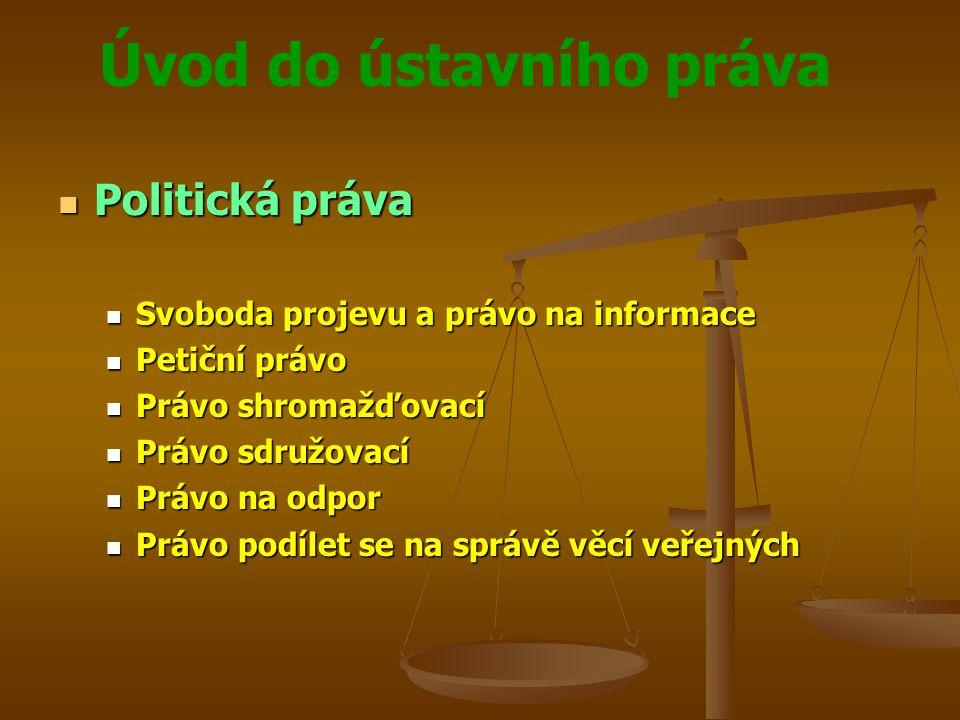 Úvod do ústavního práva Politická práva Politická práva Svoboda projevu a právo na informace Svoboda projevu a právo na informace Petiční právo Petičn