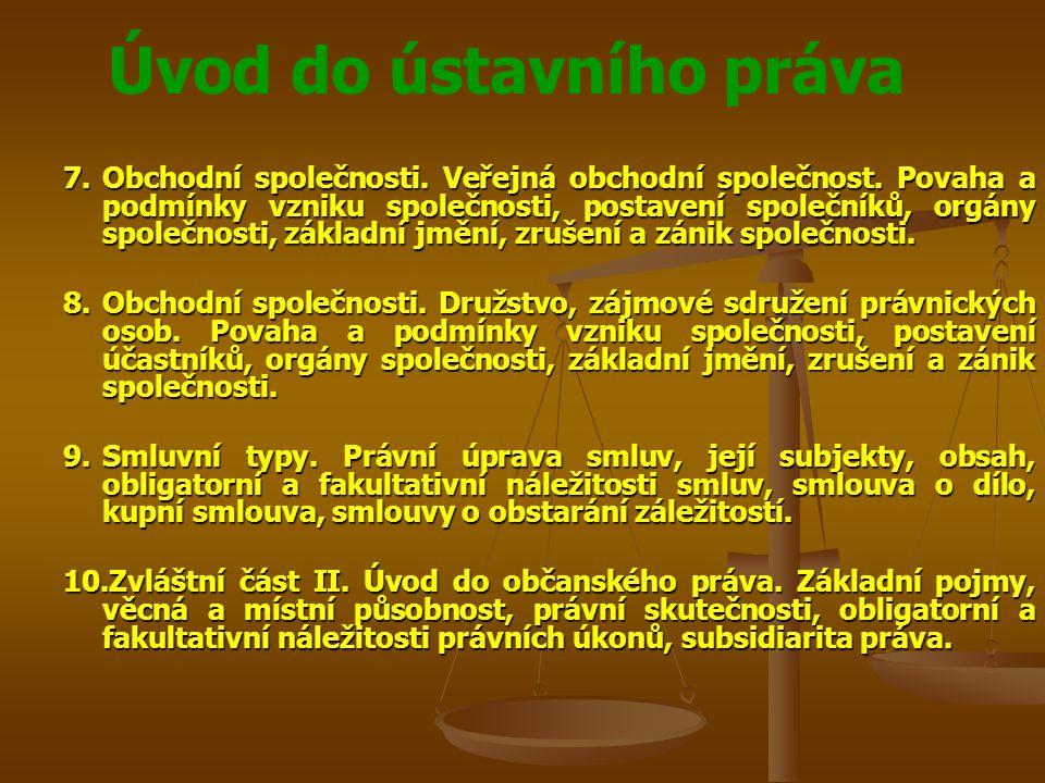 Úvod do ústavního práva 11.Smluvní typy.Právní úprava smluv.