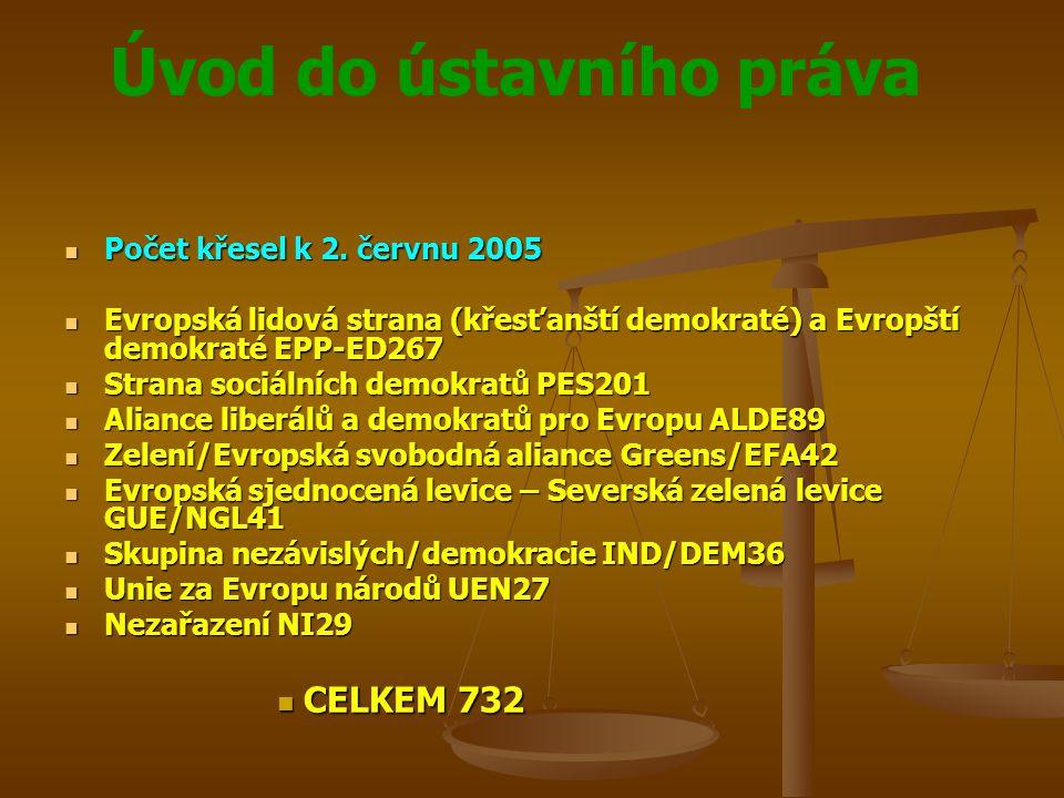 Úvod do ústavního práva Počet křesel k 2. červnu 2005 Počet křesel k 2. červnu 2005 Evropská lidová strana (křesťanští demokraté) a Evropští demokraté