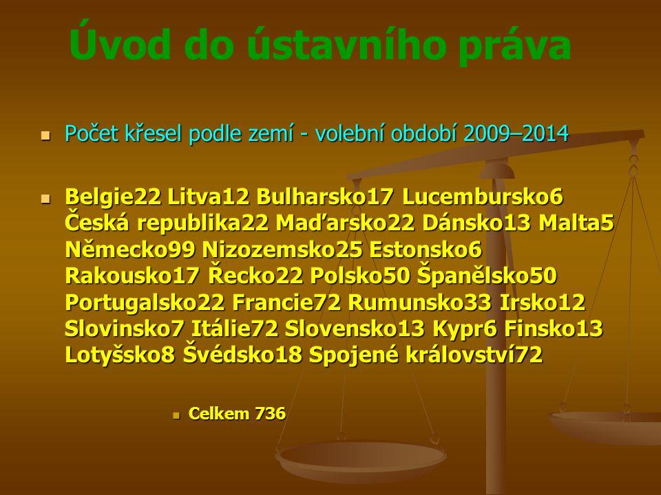 Úvod do ústavního práva Počet křesel podle zemí - volební období 2009–2014 Počet křesel podle zemí - volební období 2009–2014 Belgie22 Litva12 Bulhars